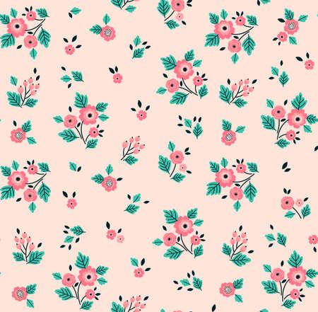 Patrón floral. Flores bonitas sobre fondo rosa claro. Impresión con flores rosadas a pequeña escala. Impresión de estilo Ditsy. Textura de vector transparente. Ramo de primavera. Ilustración de vector