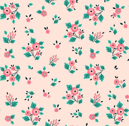 Floral pattern. Pretty flowers on light pink background. Printing with small-scale pink flowers. Ditsy style print. Seamless vector texture. Spring bouquet.
