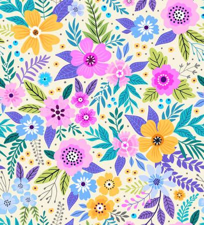 驚くほどのシームレス花柄の明るいカラフルな花と白い背景の葉。エレガントなファッションのテンプレートを印刷します。モダンな花の背景。フ