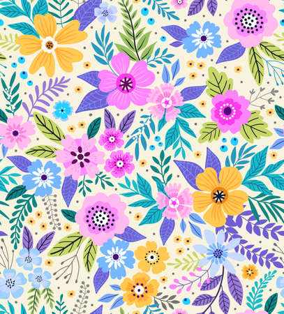 Amazing seamless floral pattern with bright colorful flowers and leaves on a white background. The elegant the template for fashion prints. Modern floral background. Folk style. Фото со стока