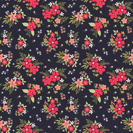 Trendy seamless vector floral pattern. Endless print made of small colorful flowers, leaves and berries. Summer and spring motifs. Vector illustration.