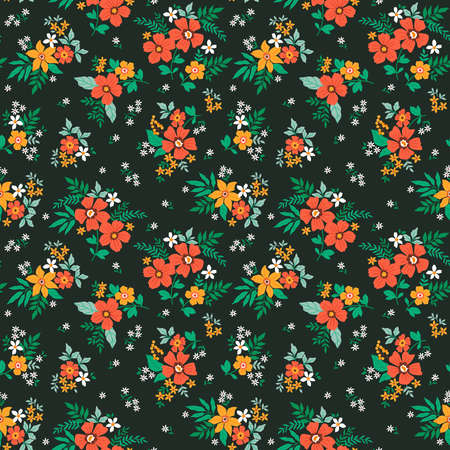 Fantasy seamless floral pattern with light orange and yellow flowers and leaves on a dark green background. The elegant the template for fashion prints. Modern floral background. 矢量图像