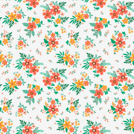 Cute floral pattern in the small flowers. Ditsy print. Seamless vector texture. Elegant template for fashion prints. Printing with small yellow and orange flowers. White background.