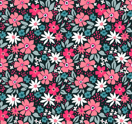 Vintage floral background. Seamless vector pattern for design and fashion prints. Flowers pattern with small white and pink flowers on a black background. Ditsy style.
