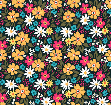 Fantasy seamless floral pattern with colorful flowers and leaves on a black background. The elegant the template for fashion prints. Modern floral background. 矢量图像