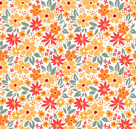 Cute floral pattern in the small flower. Ditsy print. Motifs scattered random. Seamless vector texture. Elegant template for fashion prints. Printing with small yellow flowers. White background.