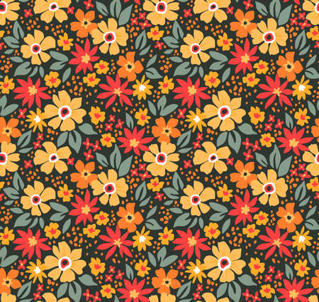 Elegant floral pattern in small yellow and red flowers. Liberty style. Floral seamless background for fashion prints. Ditsy print. Seamless vector texture. Spring bouquet.
