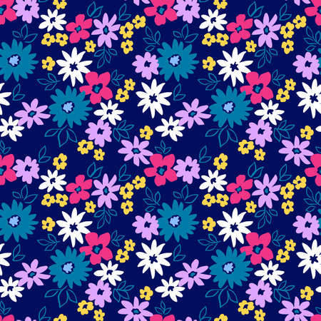 Elegant floral pattern in small colorful flowers. Liberty style. Floral seamless background for fashion prints. Ditsy print. Seamless vector texture. Spring bouquet. 矢量图像