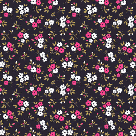 Simple cute pattern in small white and purple flowers on dark violet background. Liberty style. Ditsy print. Floral seamless background. The elegant the template for fashion prints.