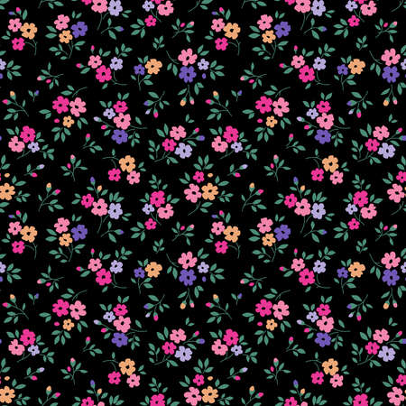 Simple cute pattern in small colorful flowers on black background. Liberty style. Ditsy print. Floral seamless background. The elegant the template for fashion prints.