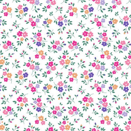Simple cute pattern in small bright colorful flowers on white background. Liberty style. Ditsy print. Floral seamless background. The elegant the template for fashion prints. 矢量图像
