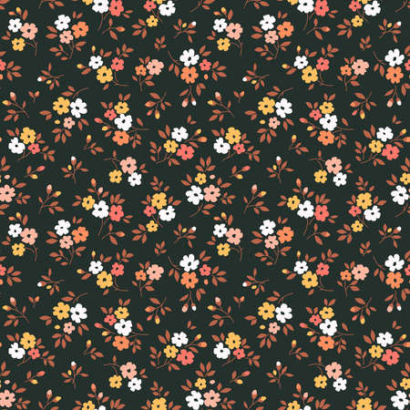 Cute floral pattern in the small flowers. Ditsy print. Motifs scattered random. Seamless vector texture. Elegant template for fashion prints. Printing with small yellow flowers. Black background.