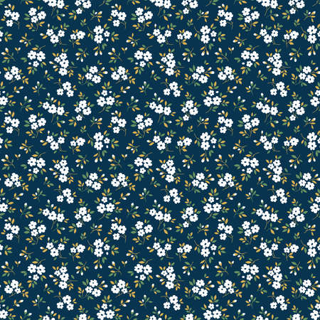 Elegant floral pattern in small white flowers. Liberty style. Floral seamless background for fashion prints. Ditsy print. Seamless vector texture. Spring bouquet. Vecteurs