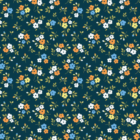Floral pattern. Pretty flowers on dark blue background. Printing with small white, yellow and blue flowers. Ditsy print. Seamless vector texture. Spring bouquet.