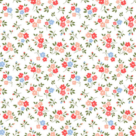 Cute floral pattern in the small flowers. Ditsy print. Motifs scattered random. Seamless vector texture. Elegant template for fashion prints. Printing with small pink flowers. White background. 矢量图像