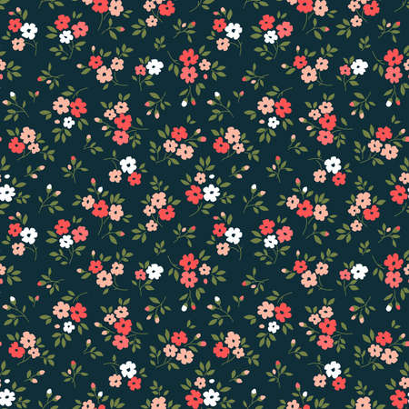 Elegant floral pattern in small red and pink flowers. Liberty style. Floral seamless background for fashion prints. Ditsy print. Seamless vector texture. Spring bouquet. 矢量图像