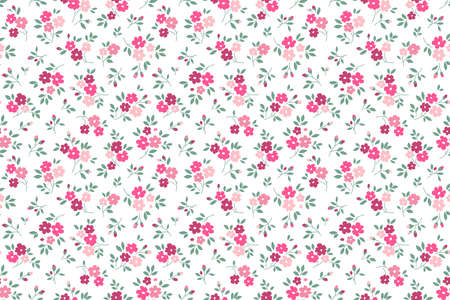 Simple cute pattern in small pink and purple flowers on white background. Liberty style. Ditsy print. Floral seamless background. The elegant the template for fashion prints.