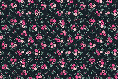 Cute floral pattern in the small flower. Ditsy print. Motifs scattered random. Seamless vector texture. Elegant template for fashion prints. Printing with small pink flowers. Dark blue background.