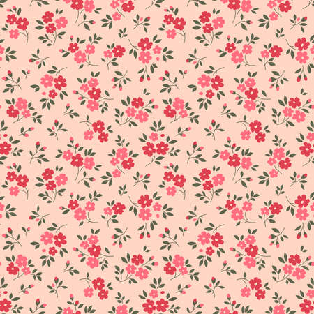 Vintage floral background. Seamless vector pattern for design and fashion prints. Flowers pattern with small pink and red flowers on a pale pink background. Ditsy style.