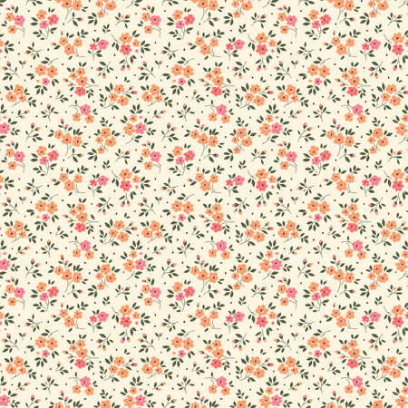 Simple cute pattern in small light orange flowers on beige background. Liberty style. Ditsy print. Floral seamless background. The elegant the template for fashion prints. 矢量图像