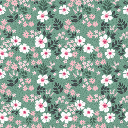 Vintage floral background. Seamless vector pattern for design and fashion prints. Flowers pattern with small white and pink flowers on a green gray background. Ditsy style.