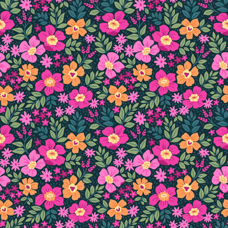 Fantasy seamless floral pattern with pink and orange flowers and leaves on a dark blue background. The elegant the template for fashion prints. Modern floral background.