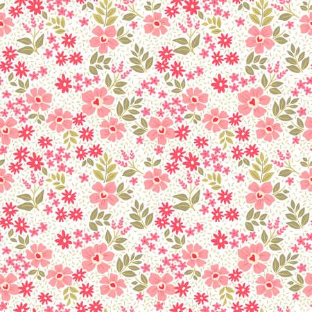 Cute floral pattern in the small flower. Ditsy print. Motifs scattered random. Seamless vector texture. Elegant template for fashion prints. Printing with small pink flowers. White background. 矢量图像