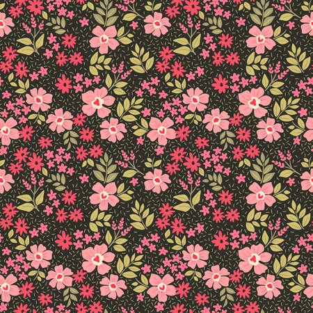 Floral pattern. Pretty flowers on black background. Printing with small red and pink flowers. Ditsy print. Seamless vector texture. Spring bouquet.