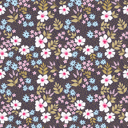 Simple cute pattern in small white and light blue flowers on violet background. Liberty style. Ditsy print. Floral seamless background. The elegant the template for fashion prints.