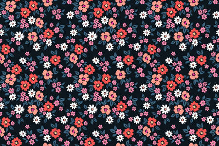 Vintage floral background. Seamless vector pattern for design and fashion prints. Flowers pattern with small flowers on a black background. Ditsy style.