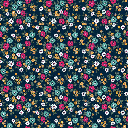 Floral pattern. Pretty flowers on dark blue background. Printing with small colorful flowers. Ditsy print. Seamless vector texture. Spring bouquet.