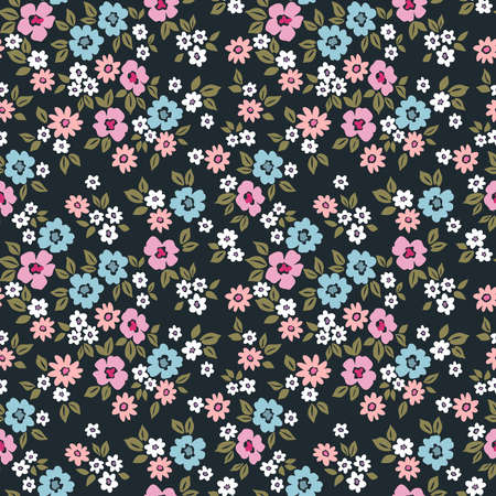 Floral pattern. Pretty flowers on dark background. Printing with small white, pink and pale blue flowers. Ditsy print. Seamless vector texture. Spring bouquet.