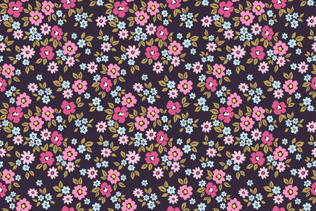 Simple cute pattern in small pink and purple flowers on dark violet background. Liberty style. Ditsy print. Floral seamless background. The elegant the template for fashion prints. 矢量图像