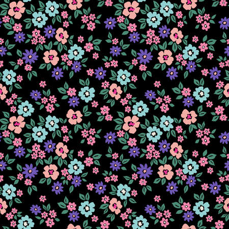 Cute floral pattern in the small flowers. Ditsy print. Seamless vector texture. Elegant template for fashion prints. Printing with small blue and pink flowers. Black background.