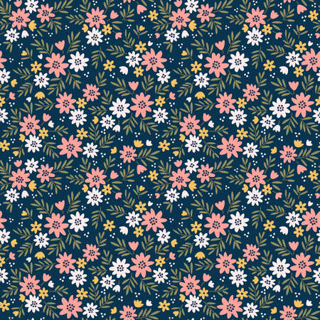 Simple cute pattern in small white and pink flowers on dark blue background. Liberty style. Ditsy print. Floral seamless background. The elegant the template for fashion prints.