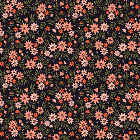 Fond floral vintage. Modèle vectorielle continue pour les impressions de conception et de mode. Motif de fleurs avec de petites fleurs de corail sur fond noir. Style chic.