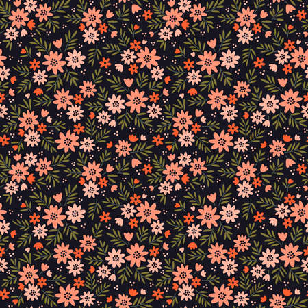 Vintage floral background. Seamless vector pattern for design and fashion prints. Flowers pattern with small coral flowers on a black background. Ditsy style.