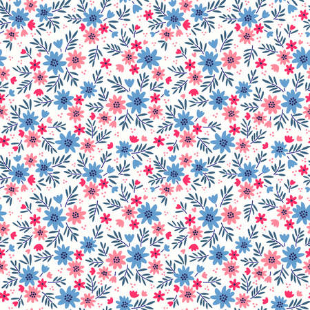 Vintage floral background. Seamless vector pattern for design and fashion prints. Flowers pattern with small red and blue flowers on a white background. Ditsy style. 矢量图像