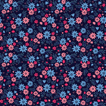 Elegant floral pattern in small pink and blue flowers. Liberty style. Floral seamless background for fashion prints. Ditsy print. Seamless vector texture. Spring bouquet.