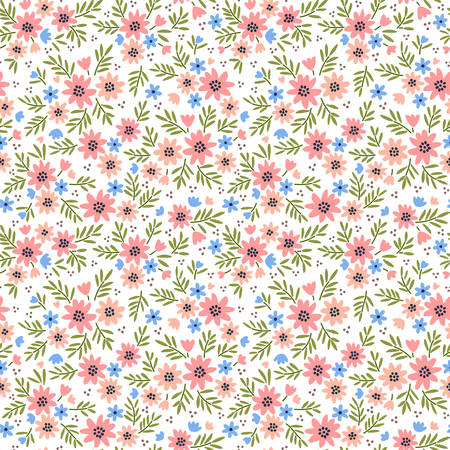 Elegant floral pattern in small pale pink flowers. Liberty style. Floral seamless background for fashion prints. Ditsy print. Seamless vector texture. Spring bouquet. Çizim