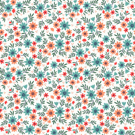 Floral pattern. Pretty flowers on white background. Printing with small light blue and coral flowers. Ditsy print. Seamless vector texture. Spring bouquet.