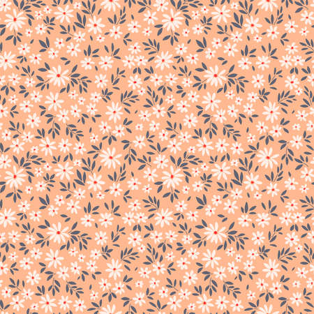 Simple cute pattern in small white flowers on pale orange background. Liberty style. Ditsy print. Floral seamless background. The elegant the template for fashion prints.