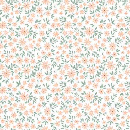 Cute floral pattern in the small flowers. Ditsy print. Seamless vector texture. Elegant template for fashion prints. Printing with small pale orange flowers. White background.