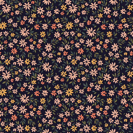 Floral pattern. Pretty flowers on dark blue background. Printing with small pale orange and yellow flowers. Ditsy print. Seamless vector texture. Spring bouquet. Çizim