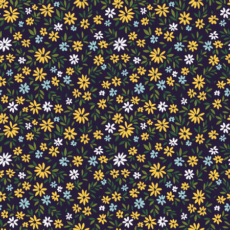 Simple cute pattern in small yellow and blue flowers on dark blue background. Liberty style. Ditsy print. Floral seamless background. The elegant the template for fashion prints.