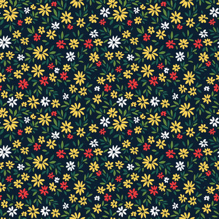 Floral pattern. Pretty flowers on black background. Printing with small red and yellow flowers. Ditsy print. Seamless vector texture. Spring bouquet.