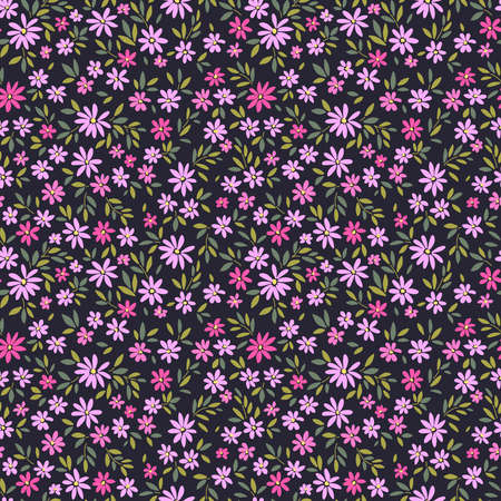 Vintage floral background. Seamless vector pattern for design and fashion prints. Flowers pattern with small purple flowers on a dark blue background. Ditsy style. 矢量图像