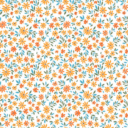 Simple cute pattern in small yellow flowers on white background. Liberty style. Ditsy print. Floral seamless background. The elegant the template for fashion prints. 矢量图像