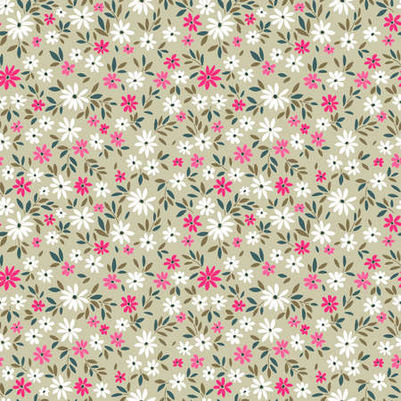 Floral pattern. Pretty flowers on light green-gray background. Printing with small white and pink flowers. Ditsy print. Seamless vector texture. Spring bouquet.