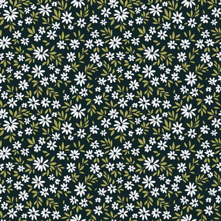 Elegant floral pattern in small white flowers. Liberty style. Floral seamless background for fashion prints. Ditsy print. Seamless vector texture. Spring bouquet.